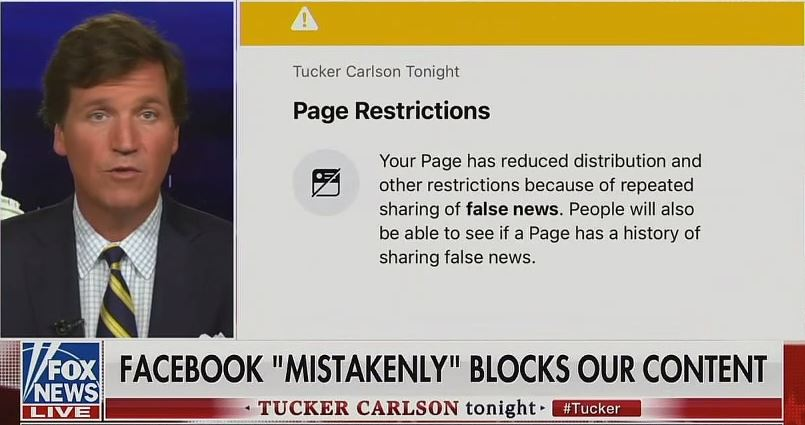 Facebook Blocked Tucker Carlson's Page for Content